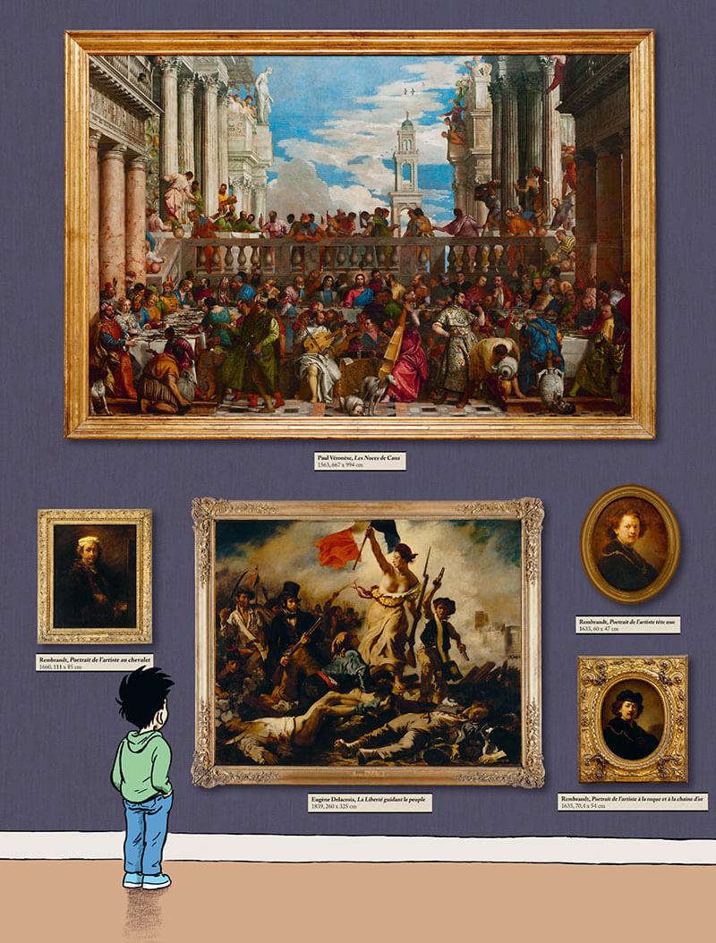 Les tableaux de l'ombre, planche de l'album © Delcourt / Le Louvre / Dytar
