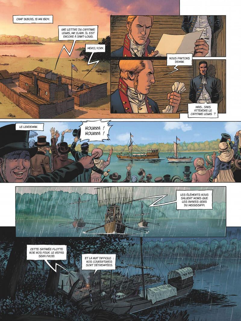 Lewis & Clark - À la découverte de l'ouest, planche de l'album © Glénat / Sandro / Thirault / Trussardi