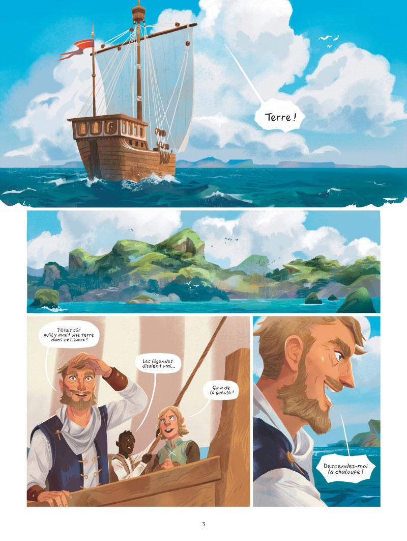 une histoire de l'île d'Errance, planche du tome 2 © Glénat / Plenzke / Grimaldi