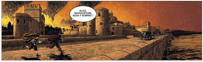 Mousquetaire, cases du tome 2 © Delcourt / Calvez / Duval / Delf