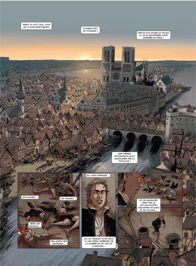Saint-Barthélémy, planche du tome 2 © Les Arènes / Stalner / Boisserie / Fantini