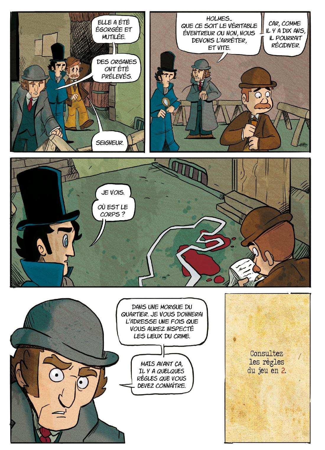 Sherlock Holmes, L'ombre de Jack l'eventreur, planhe de l'album © Makaka / Ced