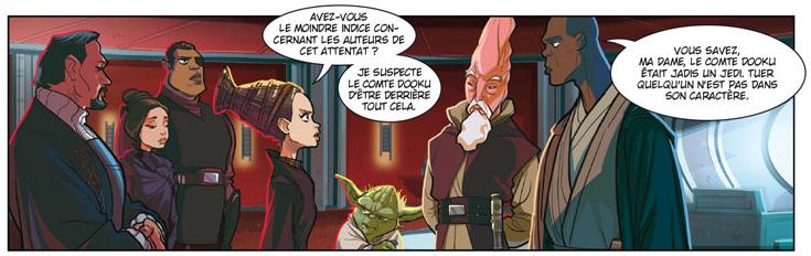 Star Wars, Episode II : L'Attaque des clones, planche de l'album © Delcourt / Chue / Santillo / Ghiglione / Attardi / Ferrari / Turotti