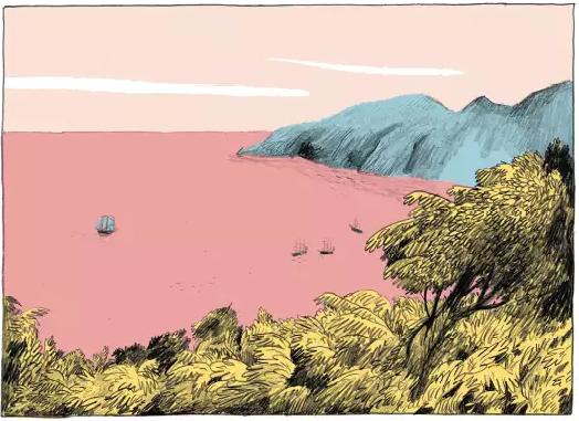 Taïpi - Un paradis cannibale, case de l'album © Gallimard / Bachelier / Melchior