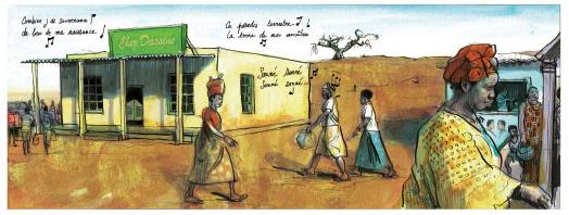 Terre Gatée, planche du tome 1 © Rue de Sèvres / De Metter / Beléteau / Abouet