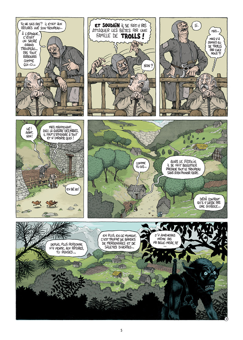 Traquemage, planche du tome 1 © Delcourt / Relom / Lupano / Loublier