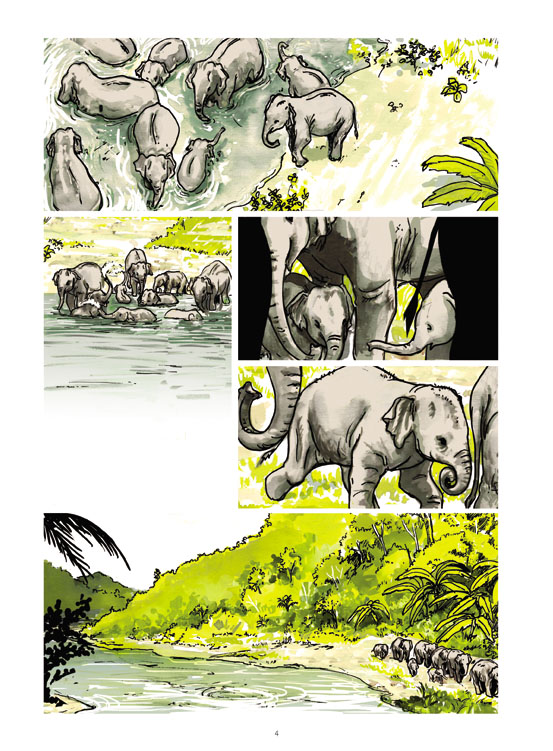 Un million d'éléphants, planche de l'album © Futuropolis / Vanyda / Cornette