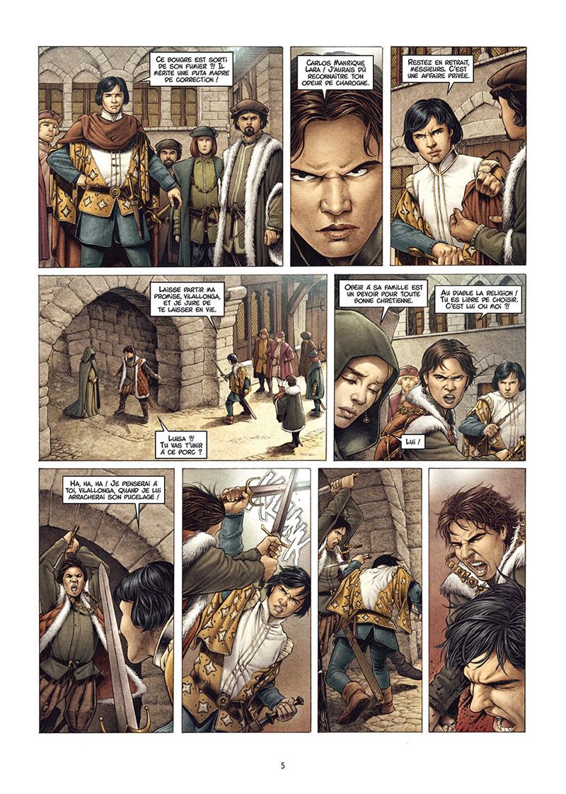 Valois, planche du tome 1 © Delcourt / Calderón / Gloris / Felideus