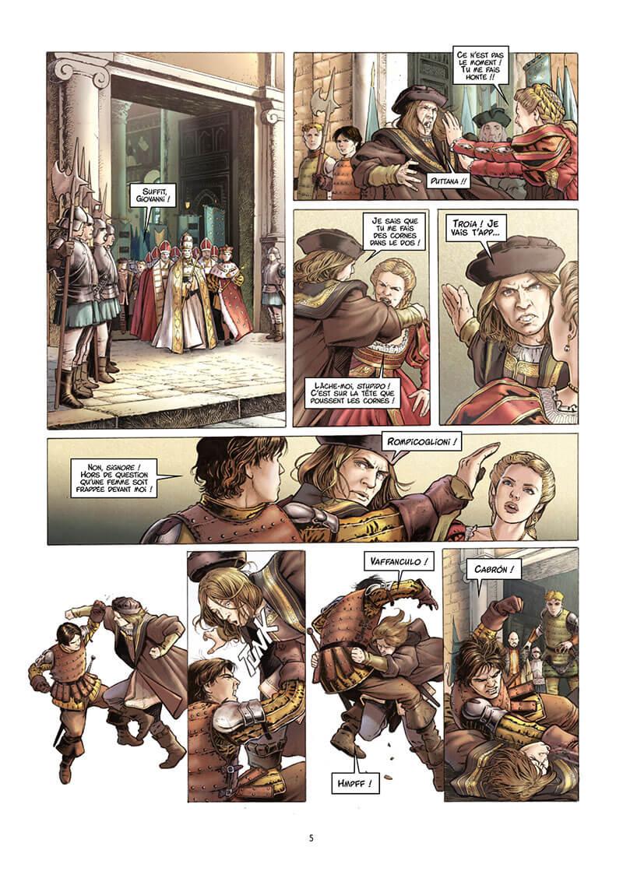 Valois, planche du tome 3 © Delcourt / Calderón / Gloris / Iozza