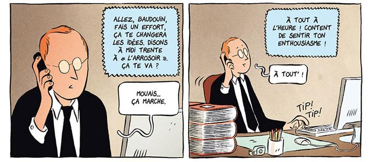 Les deux vies de Baudouin, cases de l'album © Delcourt / Toulmé / Sierro