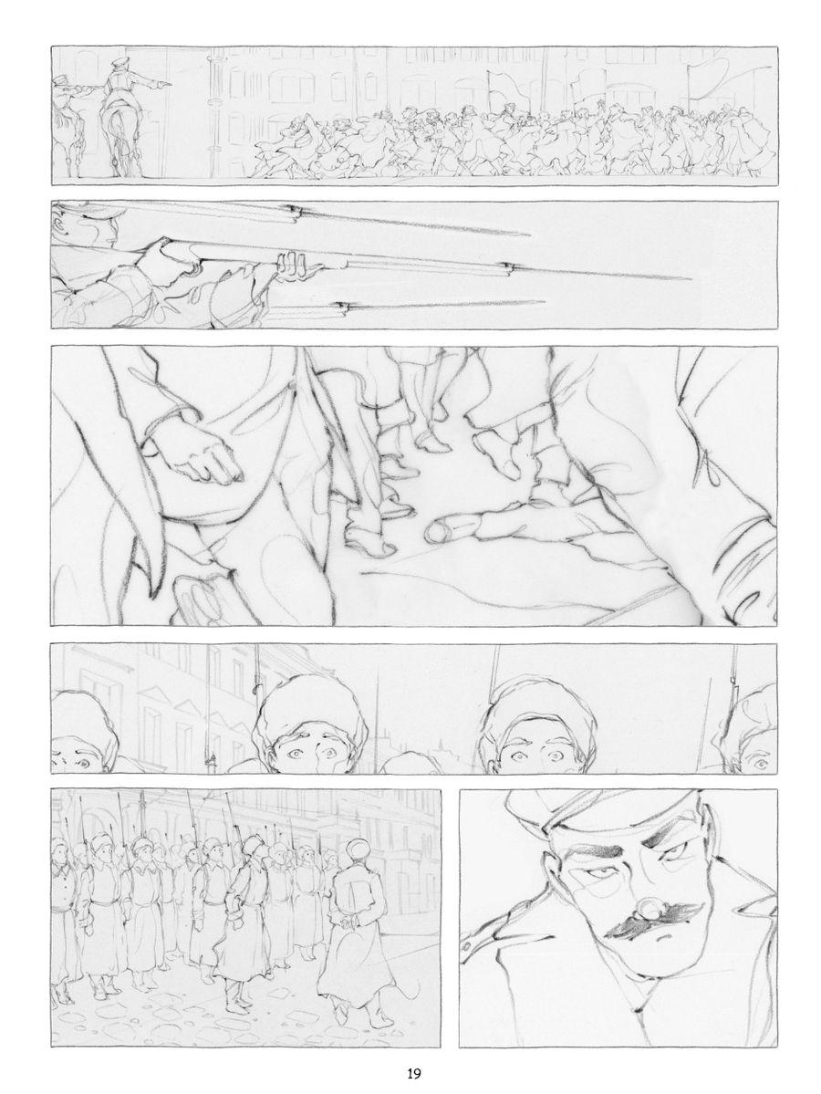 Kamarades, crayonné d&#39une planche du tome 1 © Goust
