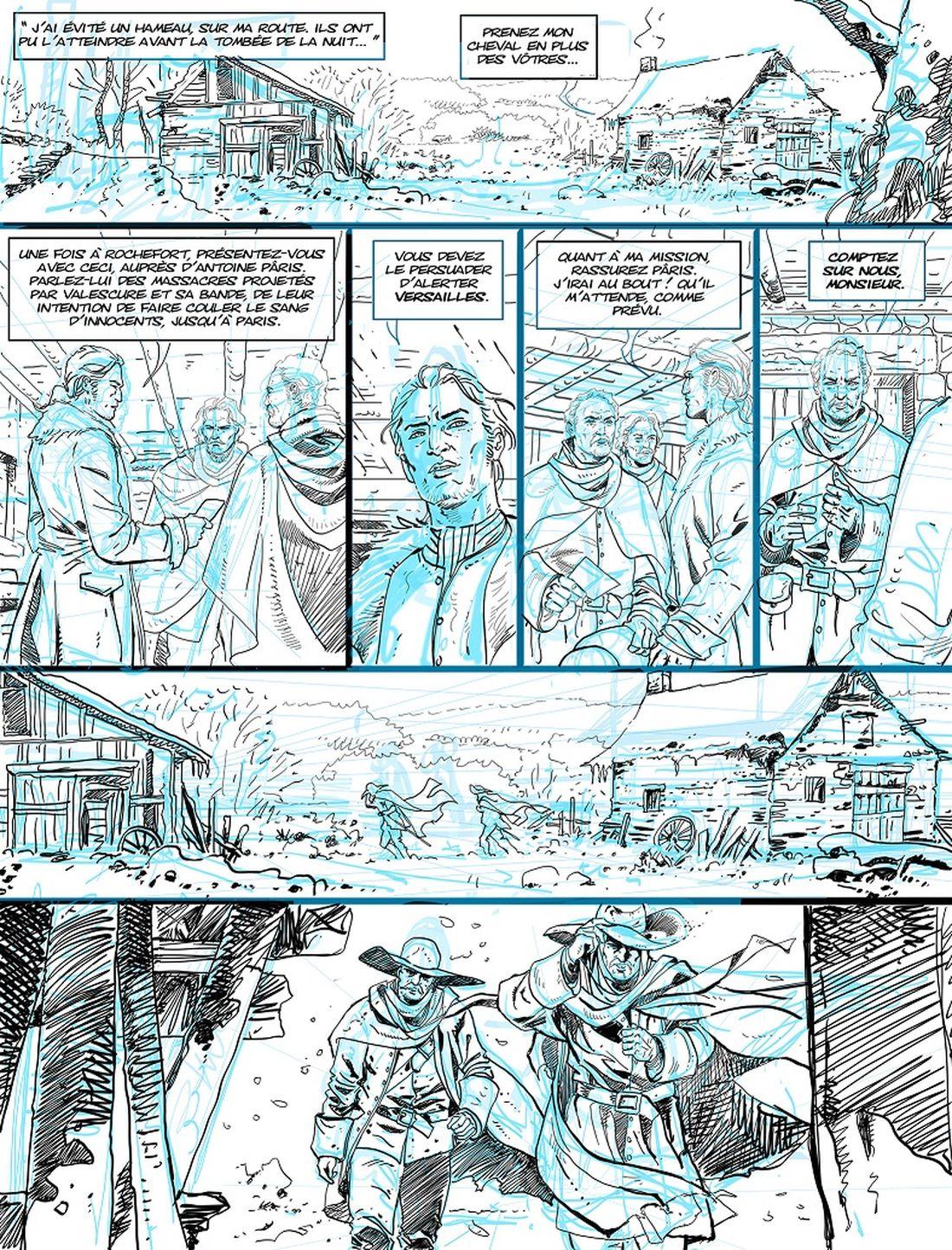 Hyver, tome 2, storyboard de la planche 30 © Philippe Xavier / Nathalie Sergeef