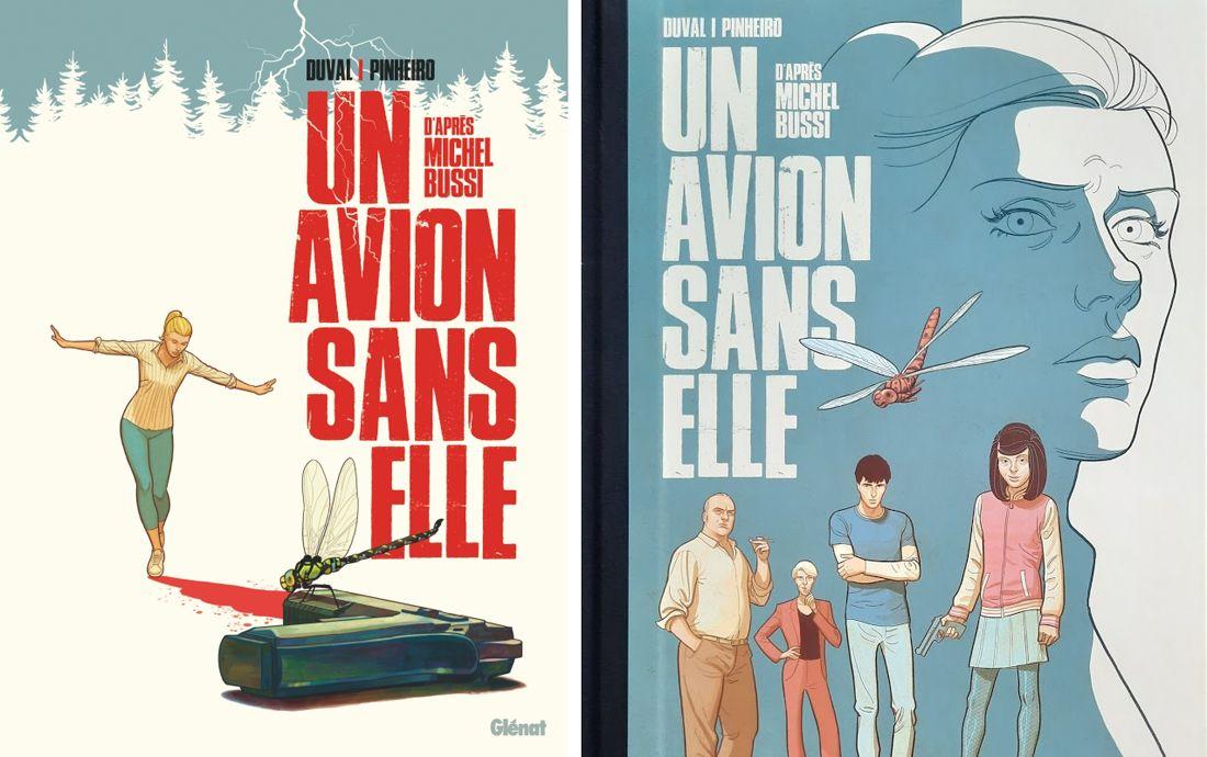 Couvertures d'un Avion sans elle, version classique et tirage spécial © Glénat / Pinheiro / Duval / Bussi