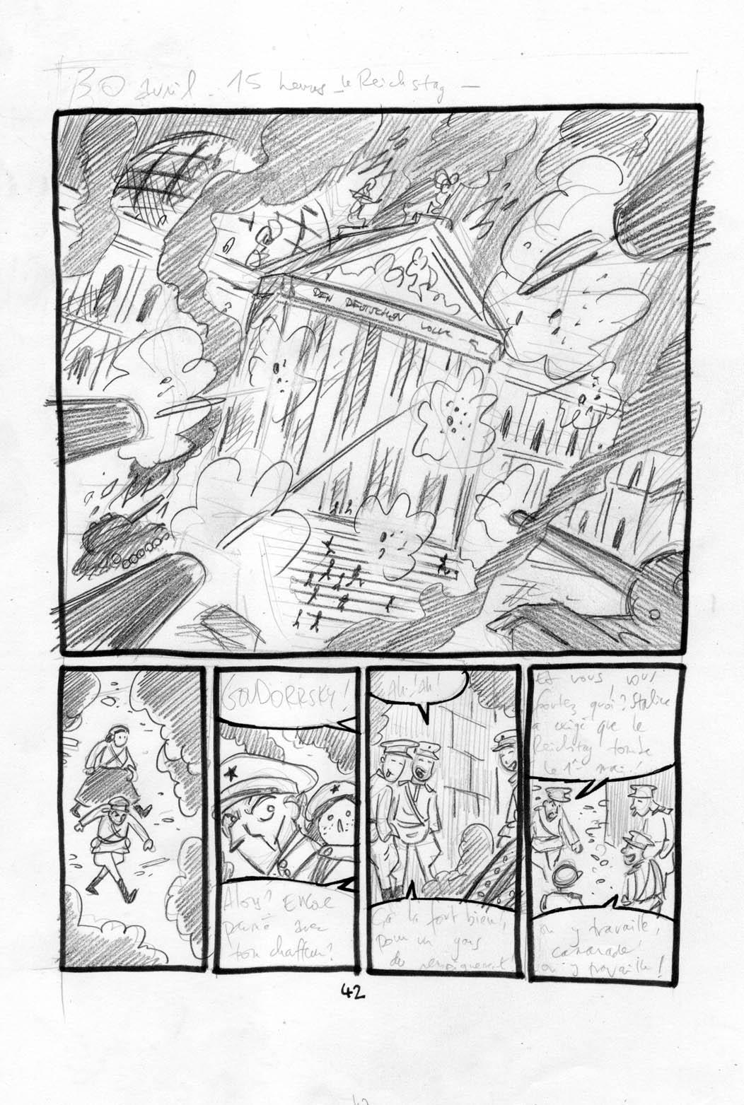 Seules à Berlin, storyboard de la planche 46 © Nicolas Juncker