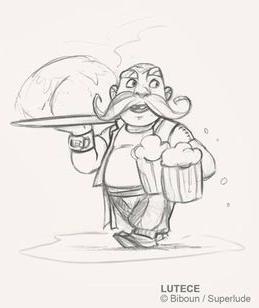 Lutèce, crayonné d'un serveur de cervoise (tiède?) © Superlude / Biboun