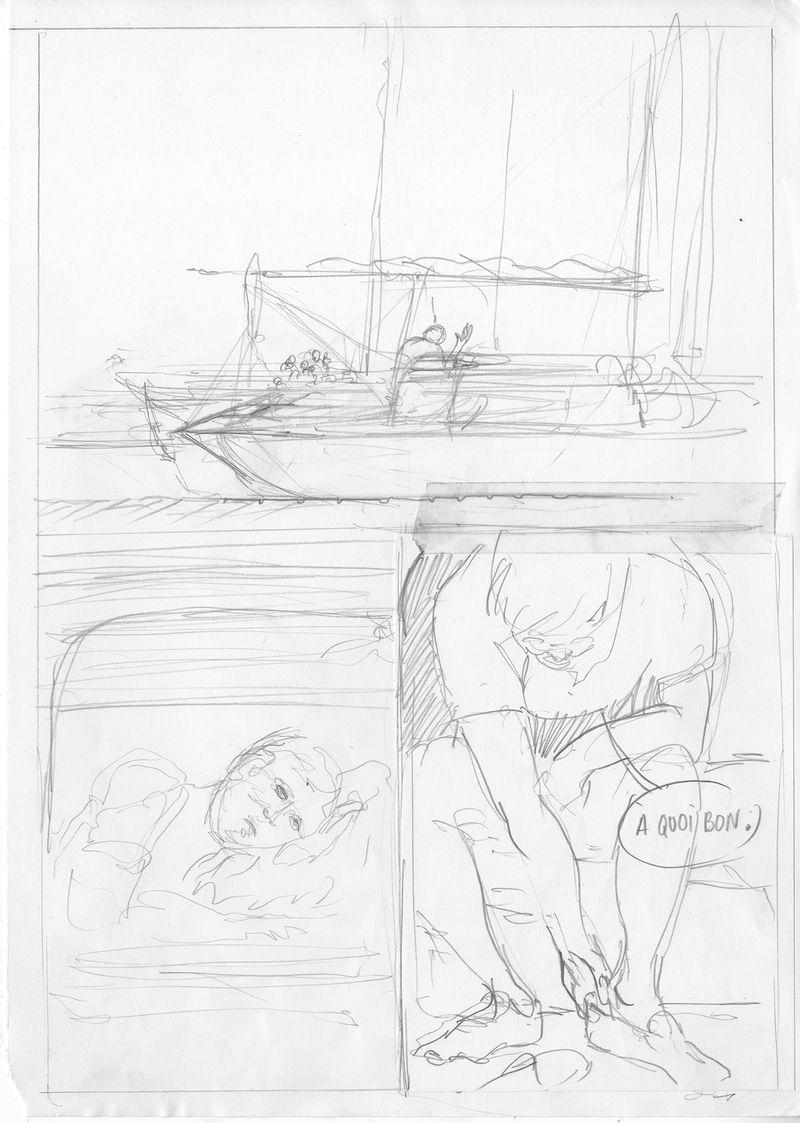 Le Passager, storyboard de la planche 43 © Patrice Réglat-Vizzavona