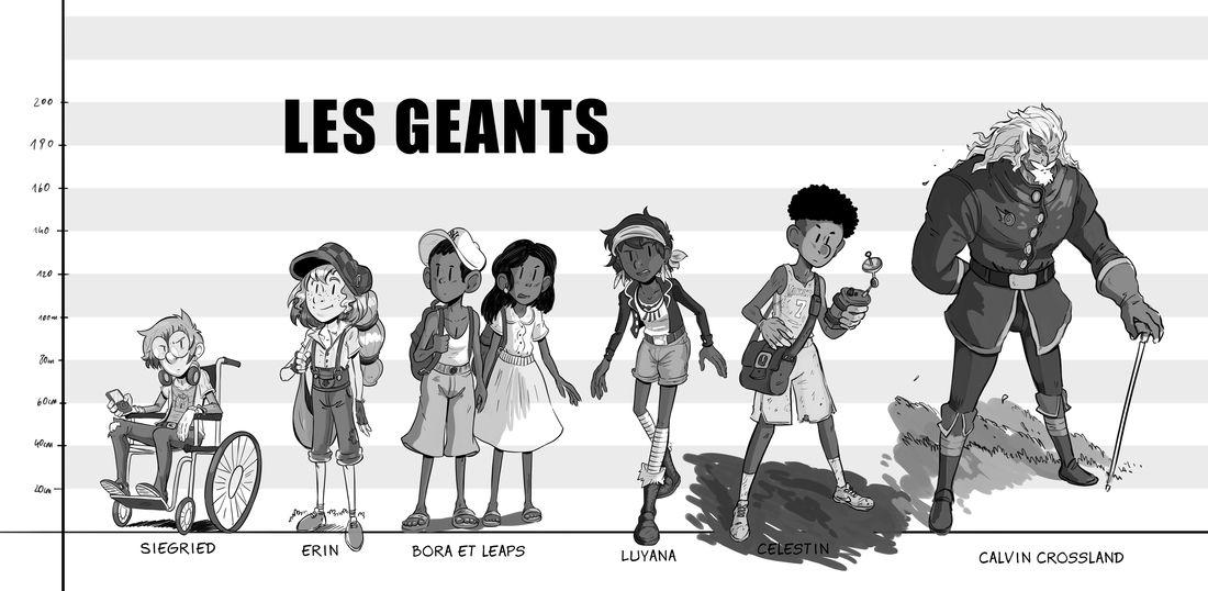 Les Géants, frise de personnages © Glénat / Drouin / Lylian / Lorien