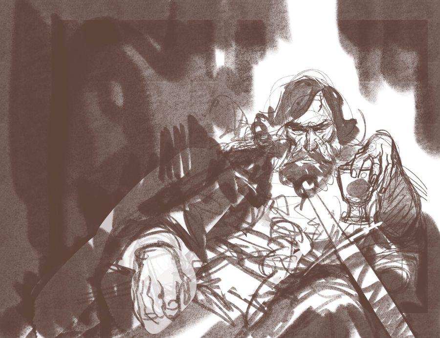 Le Roy des Ribauds, crayonné pour les Etiquettes d'Angers BD © Ronan Toulhoat