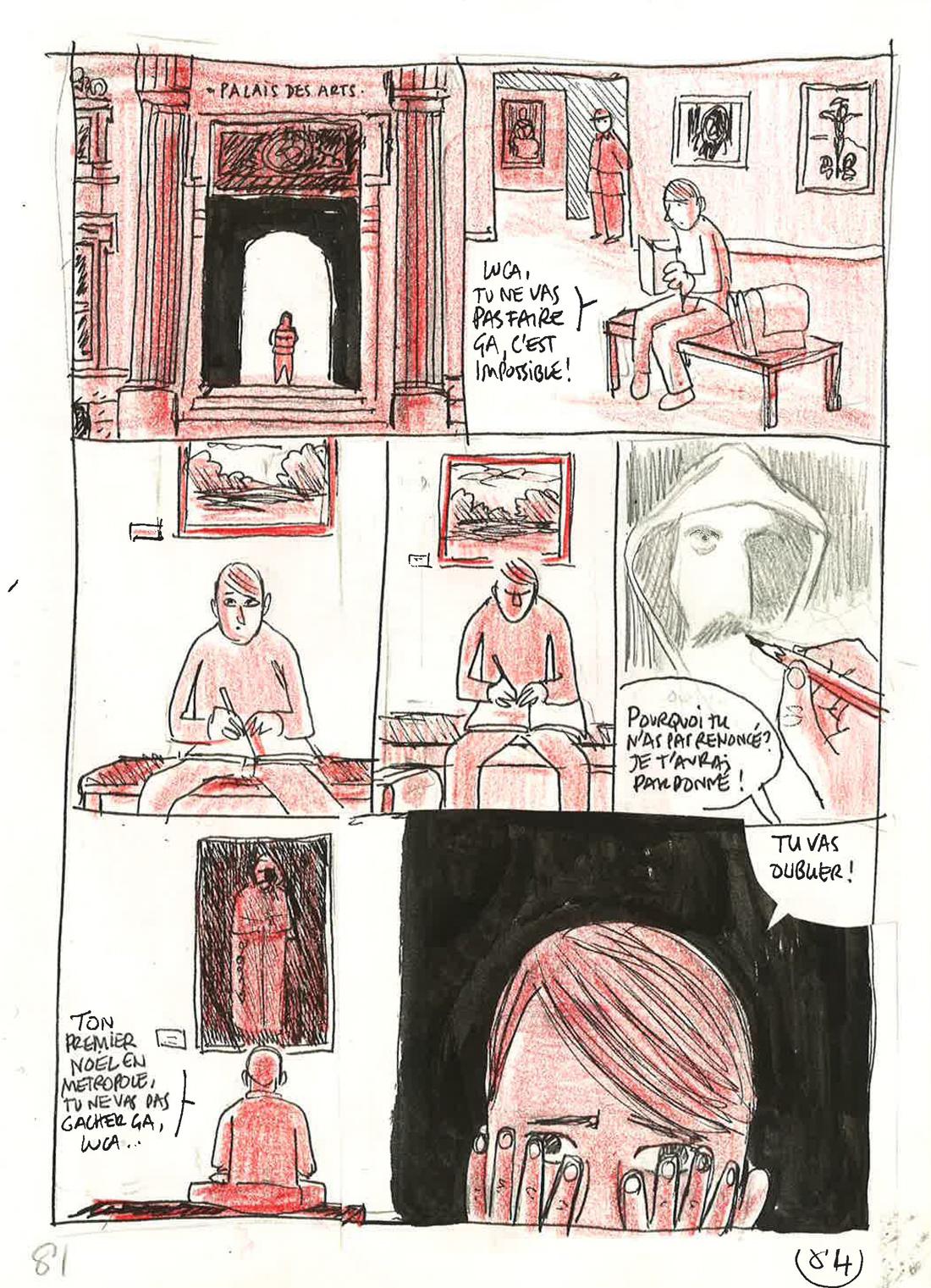 30 ans d'édition, par Sébastien Gnaedig, Chapitre 48: Profession du père. Planche 89, crayonné