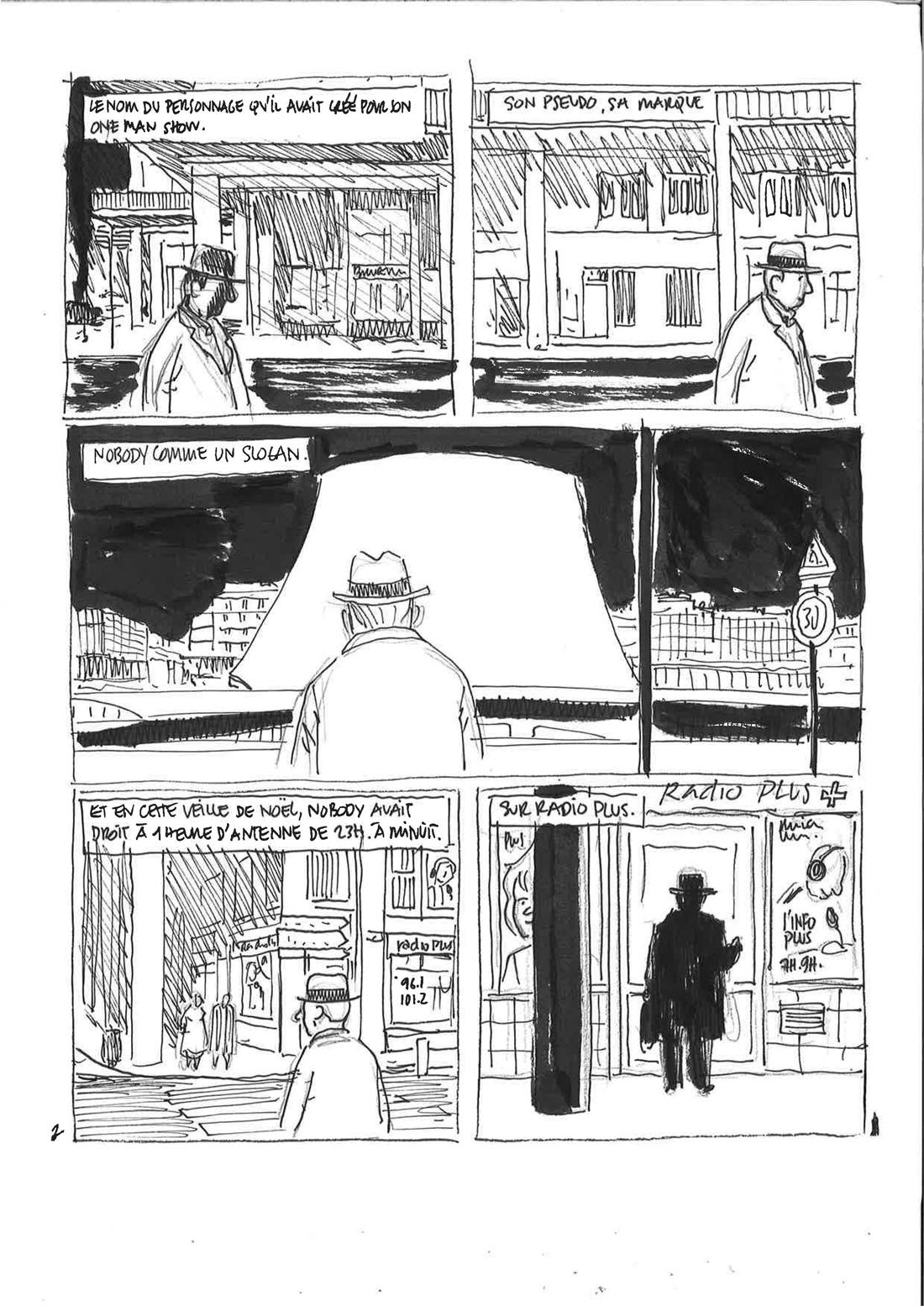 30 ans d'édition, par Sébastien Gnaedig, Epilogue: Mister Nobody. Decoupage de la planche 2 de Mister Nobody
