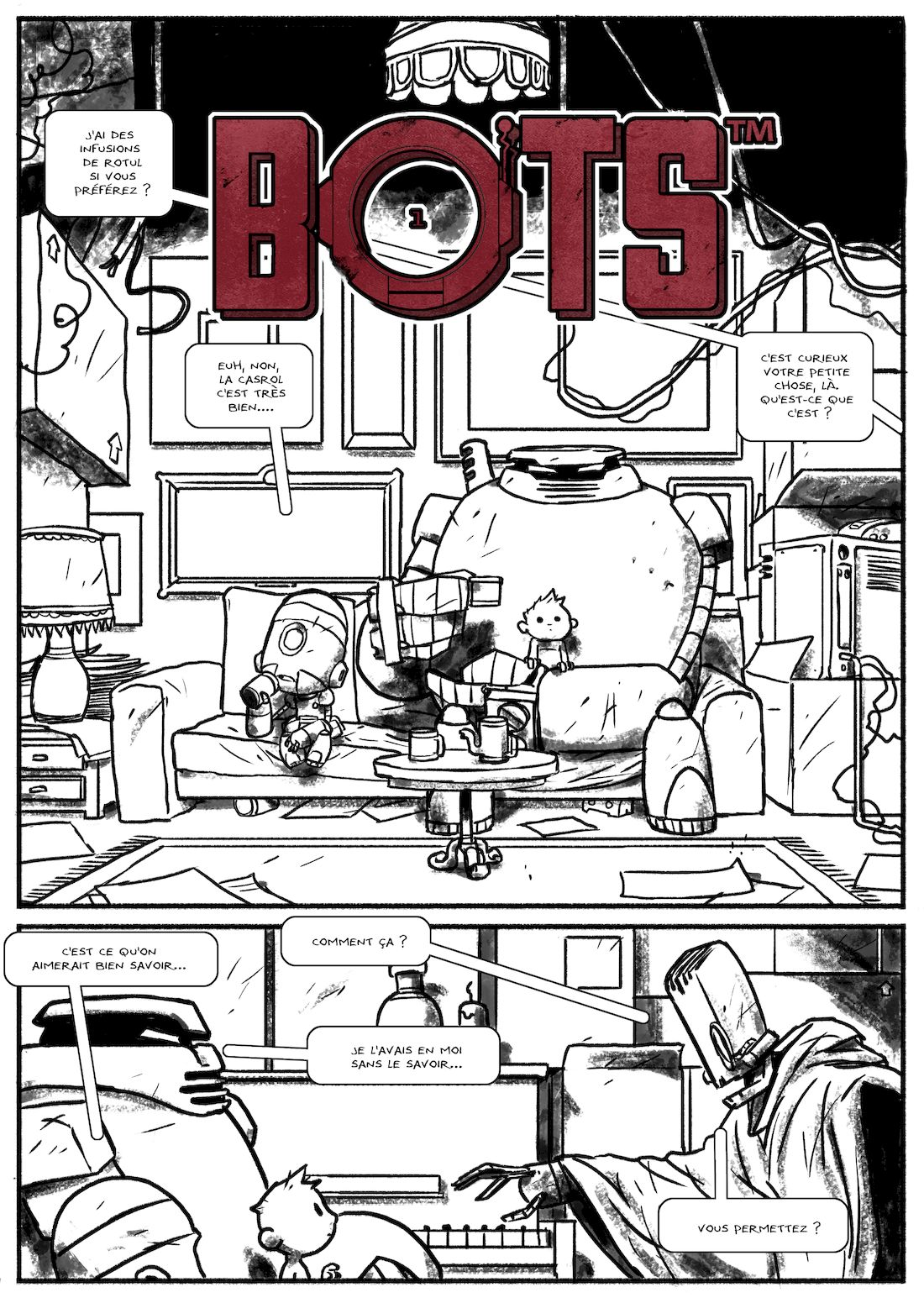Bots, planche 34, encrage © Steve Baker / Aurélien Ducoudray