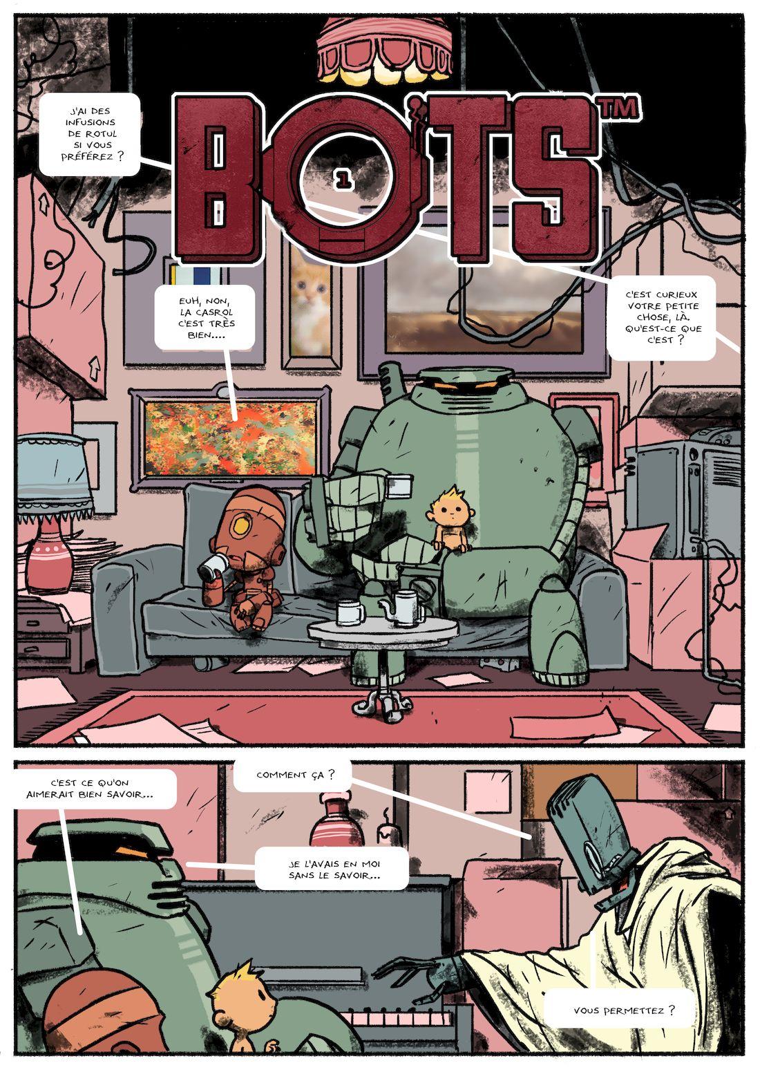 Bots, mise en couleur de la planche 34, WIP © Steve Baker / Aurélien Ducoudray