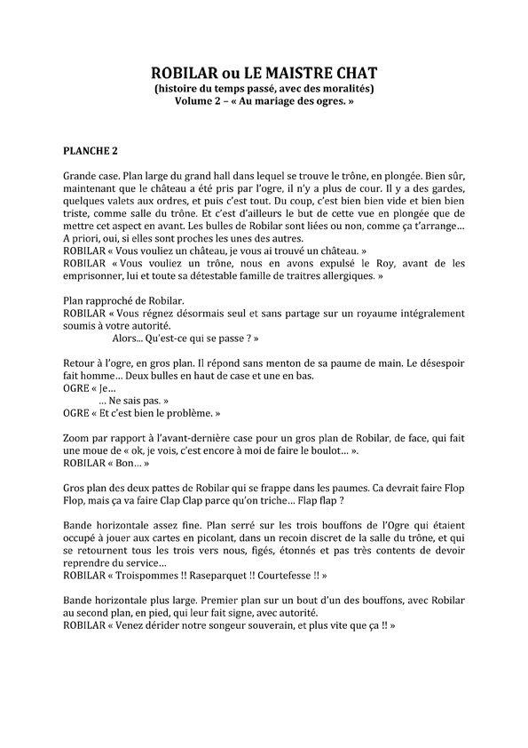 Robilar ou le Maistre Chat, scénario de la planche 2 du tome 2 © Delcourt / David Chauvel