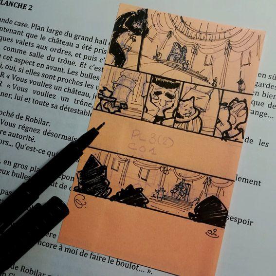 Robilar ou le Maistre Chat, storyboard de la planche 2 du tome 2 © Delcourt / Sylvain Guinebaud / David Chauvel