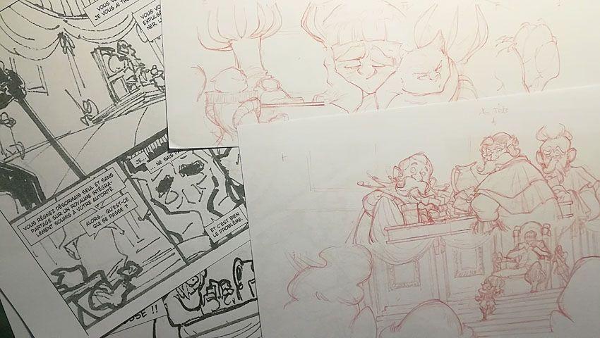 Robilar ou le Maistre Chat, impression du storyboard et crayonnés de la planche 2 du tome 2 © Delcourt / Sylvain Guinebaud / David Chauvel