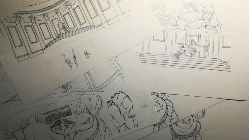 Robilar ou le Maistre Chat, encrage au crayon noir des impressions bleues de la planche 2 du tome 2 © Delcourt / Sylvain Guinebaud / David Chauvel