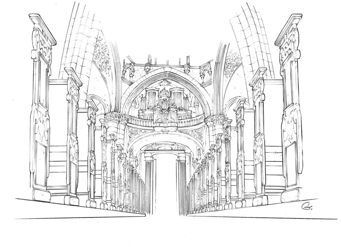 Robilar ou le Maistre Chat, décors : la cathédrale © Delcourt / Sylvain Guinebaud / David Chauvel / Lou