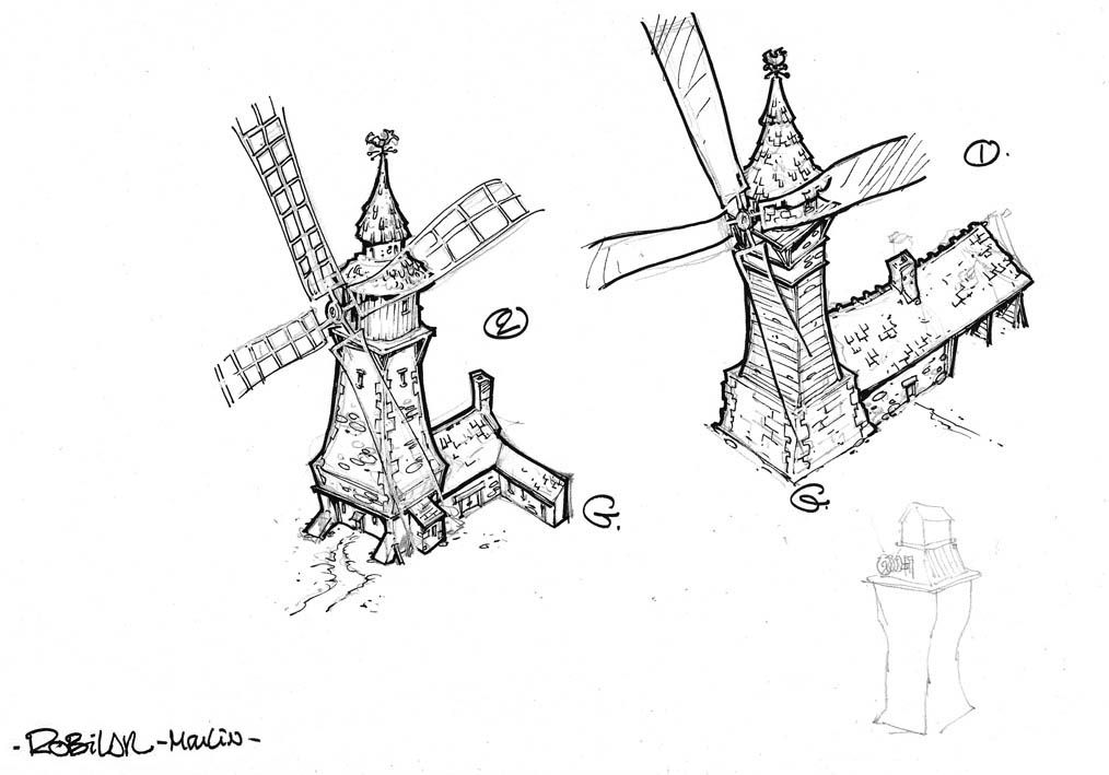 Robilar ou le Maistre Chat, croquis du moulin © Delcourt / Sylvain Guinebaud / David Chauvel / Lou