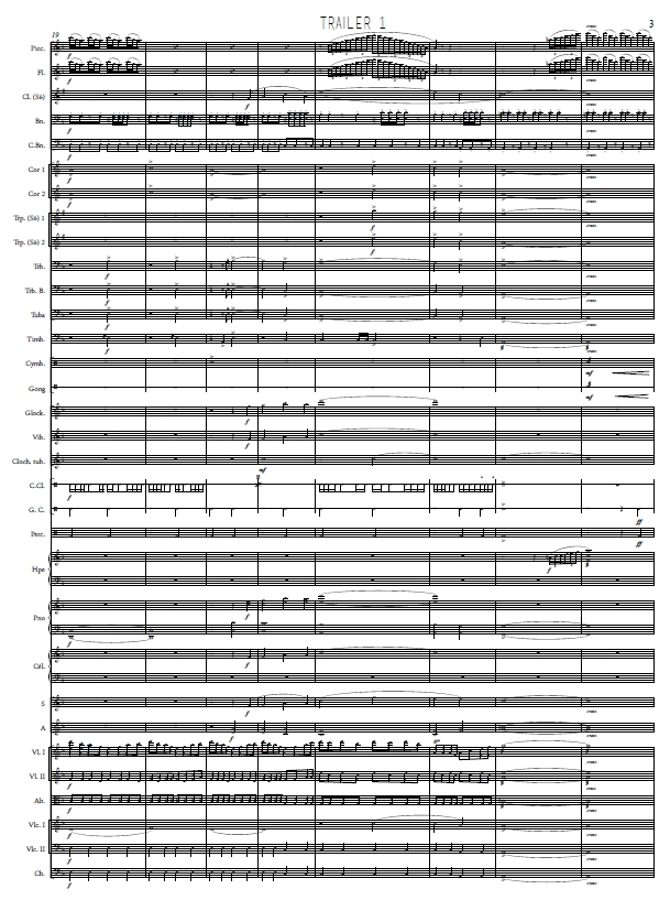 Harmony, Extrait de la partition de la musique de bande-annonce © Thomas Kubler