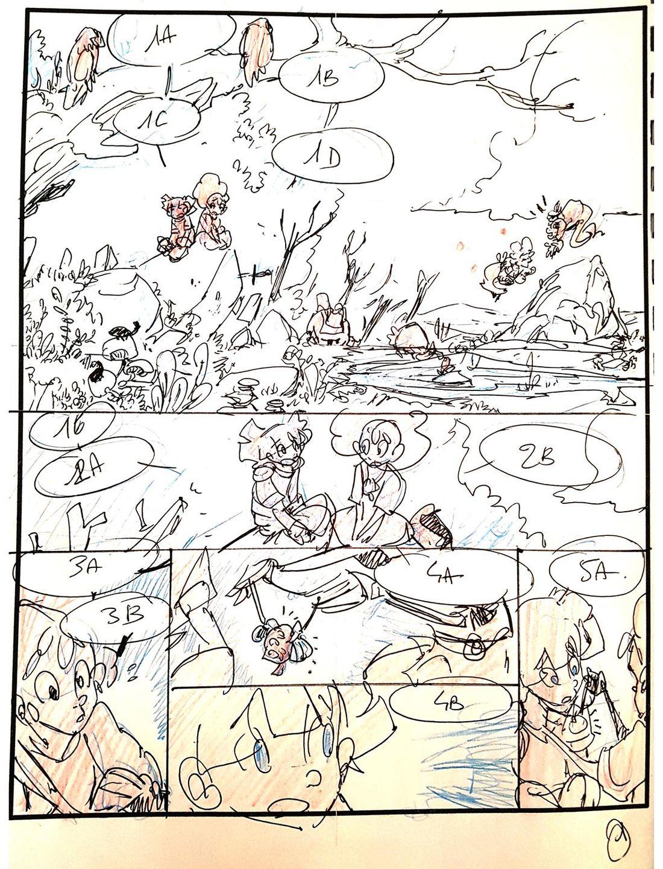 rough de la planche 1 du tome 3 d'Alianor Mandragore © Séverine Gauthier
