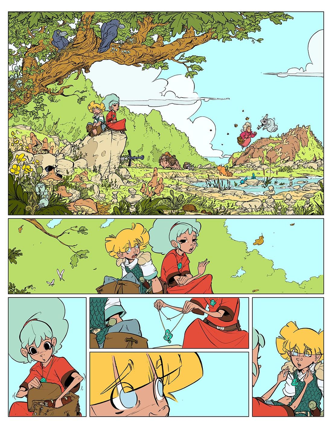 la planche 1 du tome 3 d'Alianor Mandragore, step by step © Labourot / Gauthier