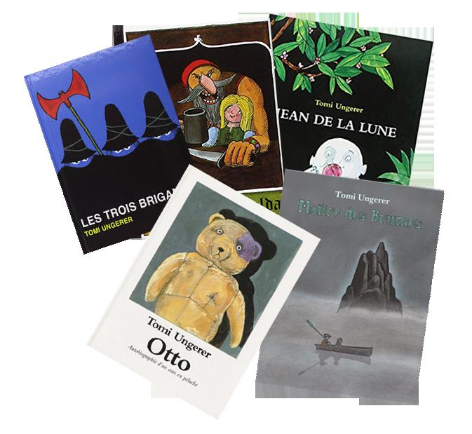 Tomi Ungerer, quelques uns de ses nombreux et jubilatoires albums © Ecole des Loisirs