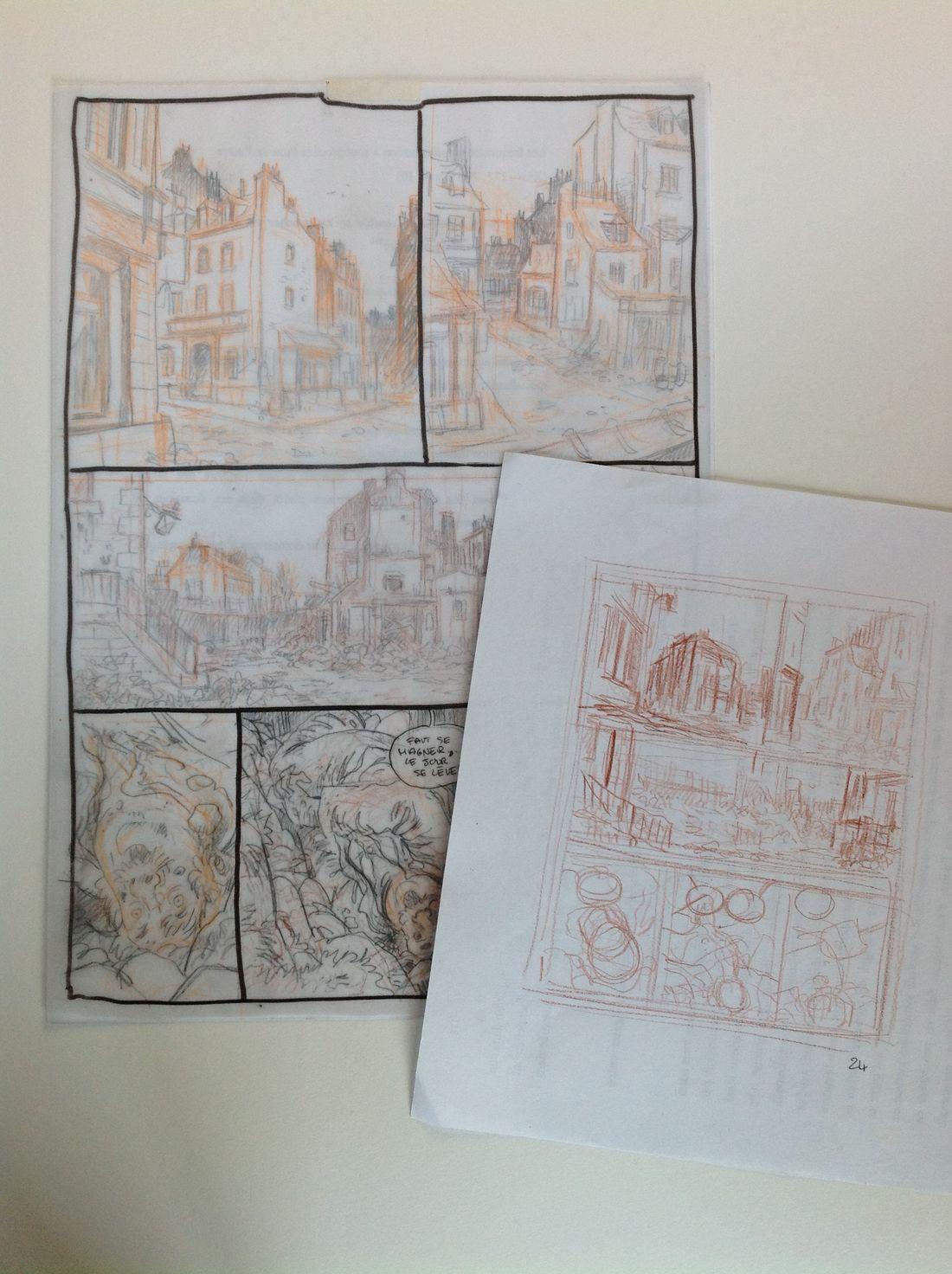 Les Communardes, crayonné d'une planche du tome 3 © Fourquemin
