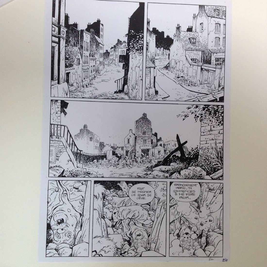 Les Communardes, encrage d'une planche du tome 3 © Fourquemin