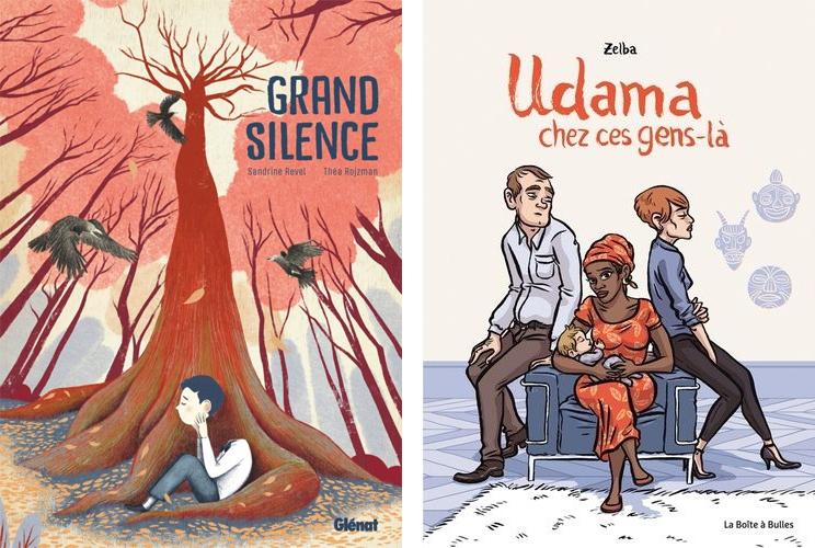 le Grand Silence (© Glénat / Revel / Rojzman) et Udama et ces gens-là (© Boîte à Bulles / Zelba)
